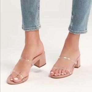 Clear suede heels *TRENDING *